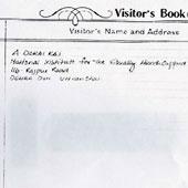 Visitors diary